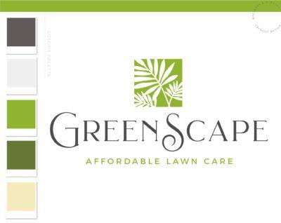 Lawn Care Logo, Landscaping Service Logo Design, Palm Frond Tree Logo, Organic Garden Blog, Botanical Plant Logo, Small Business Branding