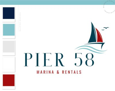 Sailing Logo, Boat and Fishing Rentals Marina logo, Vintage Anchor Ocean Brand Watermark, Nautical Sail Boat Water Travel Agency Logo