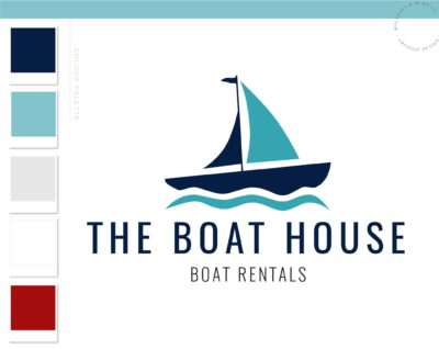 Nautical Sailing Logo, Boat and Fishing Rentals Marina logo, Vintage Anchor Ocean Brand Watermark, Boat Wheel Water Travel Agency Logo