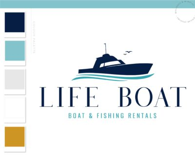 Boat Logo, Fishing Rentals Marina logo, Nautical Sailing Logo, Vintage Anchor Ocean Brand Watermark, Boat Wheel Water Travel Agency Logo
