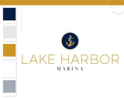 Vintage Anchor logo, Boat Fishing Rentals Logo, Marina Nautical Sailing Logo, Ocean Brand Watermark, Boat Wheel Water Travel Agency Logo