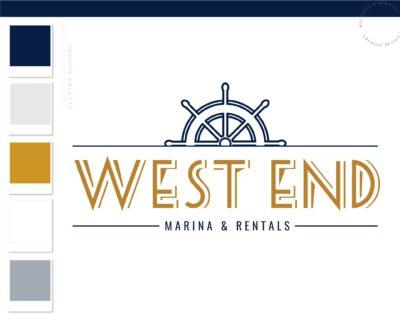 Marina logo, Boat Fishing Rentals Logo, Nautical Sailing Logo, Vintage Anchor Ocean Brand Watermark, Boat Wheel Water Travel Agency Logo
