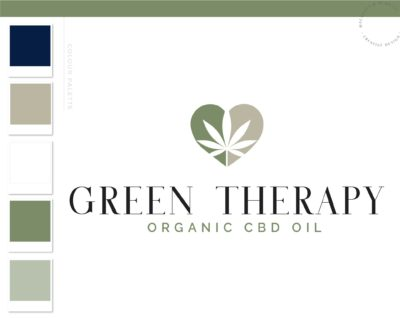 CBD Oil Logo, Cannabis Logo, Marijuana Dispensary Logo, Health Weed Logo, THC Logo Branding for Smoke Shop, Organic Nature Leaf Watermark
