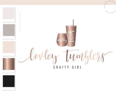 Tumbler Logo, Travel Cup Wine Glass Mug Logo Design for Etsy Shop Branding, Premade Handmade Custom Tumbler Vinyl Crafting, Traveling Logo