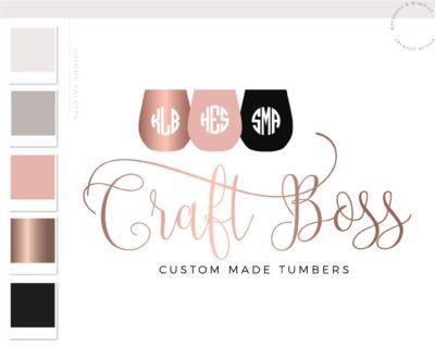 Travel Tumbler Logo, Wine Glass Cup Logo Design for Etsy Shop Branding, Premade Mug Custom Tumbler Vinyl Crafting, Traveling Handmade Logo