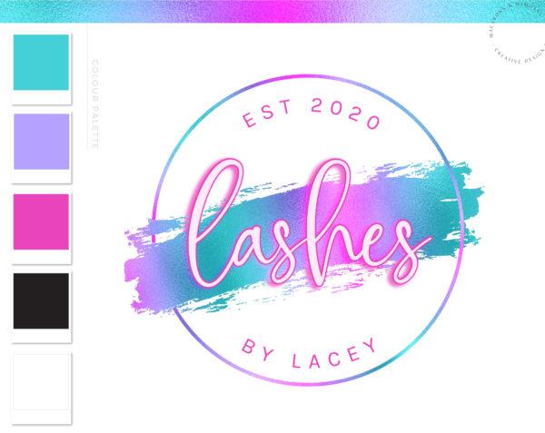 Neon Holographic Logo Design, Unicorn Rainbow Glow Pink Beauty Logo and Watermark, Premade logo, Photography Branding Kit, Lash Salon Logo