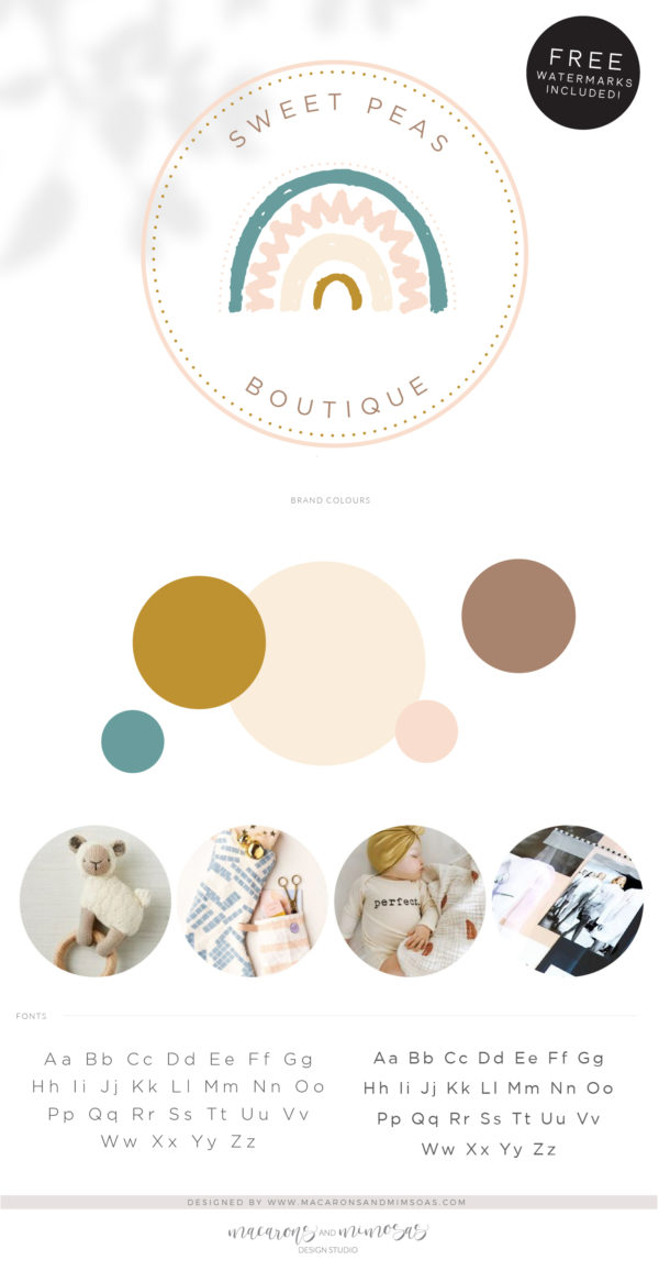 Boho Kids Rainbow Logo Design, Baby Boutique Logo and Watermark, Photography Branding Kit, Cute Boho Logo Branding