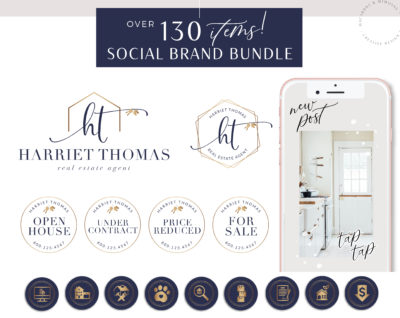 130+ Piece Real Estate Logo Design Branding Bundle for Instagram, Realtor House Marketing Logo Watermark and Broker Branding Package