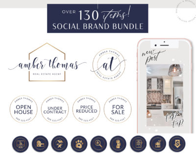 130+ Piece Real Estate Logo Design Branding Bundle for Instagram, Realtor Key Marketing Logo Watermark and Broker Branding Package