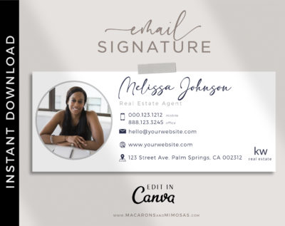 Email Signature Template with Logo, Picture Minimalist, Best Seller Realtor Marketing Tool, Professional Real Estate Signature, Contact Card Design