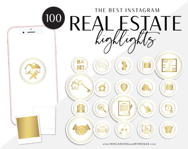 100 Real Estate Instagram Story Highlight Icons, Gold White IG Icons, Story Highlight Icons, IG Stories Post cover, social media icons
