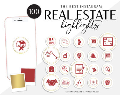 Keller Williams Instagram Icons, 100 Real Estate Instagram Story Highlights, Red Gold IG Icons, Story Highlight Icons, IG Stories cover