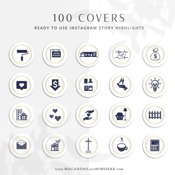 100 Real Estate Instagram Highlight Icons, Navy Blue Gold IG Story Icons, Story Highlight Icon logos, IG Stories cover, social media icons