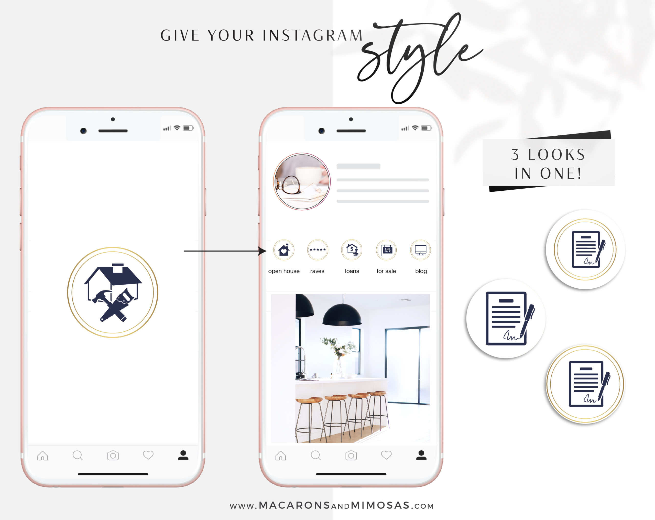 Gold Real Estate Instagram Highlight Icons, Navy Blue Gold IG Story Icons, Story Highlight Icon logos, IG Stories cover, social media icons