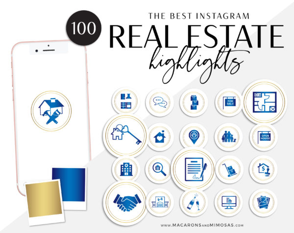 blue realtor Instagram highlights Icons, Gold Blue IG Icons, Story Highlight Icons, IG Stories Post cover, social media icons