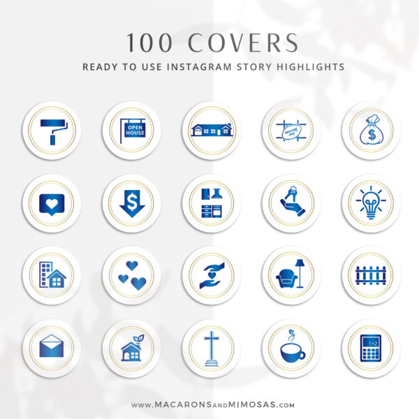 100 Real Estate Instagram Story Highlight Icons, Gold Blue IG Icons, Story Highlight Icons, IG Stories Post cover, social media icons