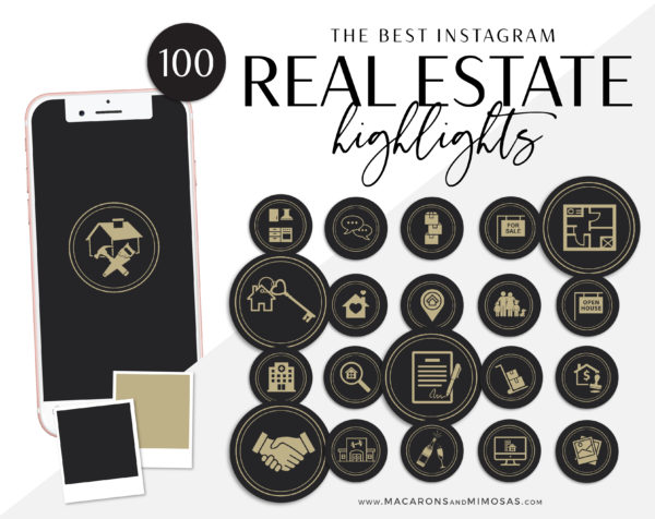 century 21 Instagram Covers100 Real Estate Instagram Story Highlights, Black Gold IG Icons, Story Highlight Icons, IG Stories Post cover