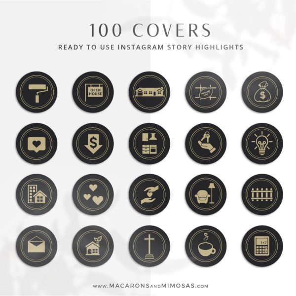 100 Real Estate Instagram Story Highlights, Black Gold IG Icons, Story Highlight Icons, IG Stories Post cover, social media icons century 21