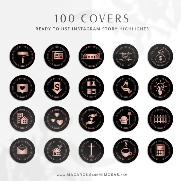 100 Real Estate Instagram Story Highlights, Black Rose Gold IG Icons, Story Highlight Icons, IG Stories Post cover, social media icons