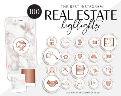 Rose Gold Realty Instagram Covers, Marble Rose Gold Instagram Highlights, , Story Highlight Icons, IG Stories Post cover, social media icons