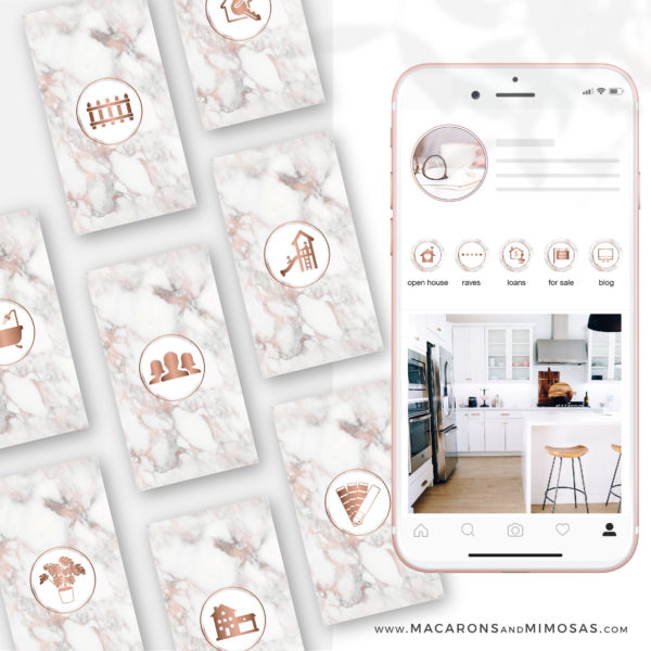 100 Real Estate Instagram Story Highlights, Marble Rose Gold IG Icons, Story Highlight Icons, IG Stories Post cover, social media icons