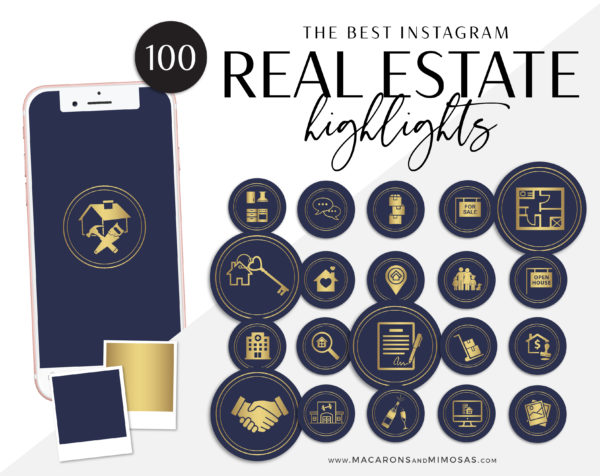 100 Real Estate Instagram Story Highlight Icons, Navy Blue Gold IG Icons, Story Highlight Icons, IG Stories Post cover, social media icons