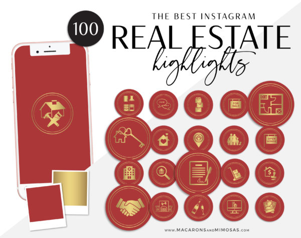 100 Real Estate Instagram Story Highlight Icons, Red Gold IG Icons, Story Highlight Icons, IG Stories Post cover, social media icons