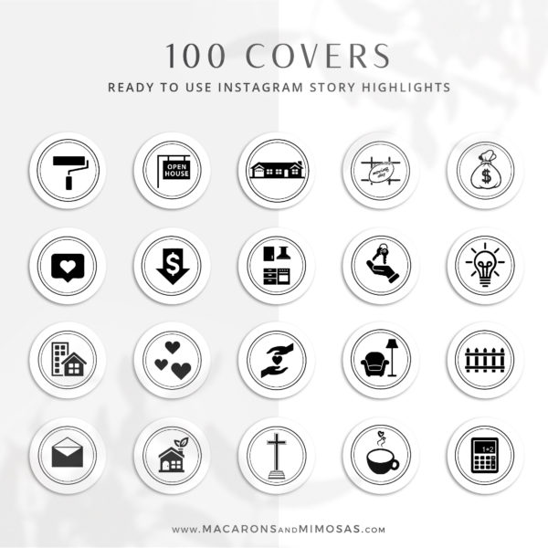 100 Real Estate Instagram Story Highlight Icons, Black House IG Icons, Story Highlight Icons, Interior Design Home social media icons