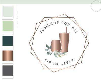 Tumbler Logo, Floral Travel Cup Wine Glass Mug Logo Design for Etsy Shop Branding, Premade Custom Tumbler Crafting, Traveling Handmade Logo