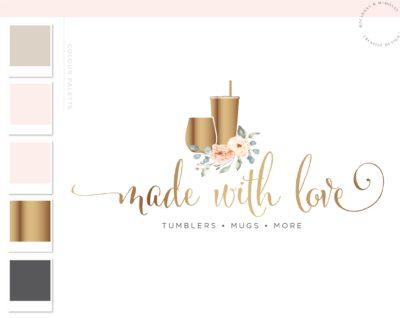 Wine Tumbler Logo, Floral Travel Cup Mug Logo Design for Etsy Shop Branding, Premade Custom Tumbler Crafting, Traveling Handmade Logo