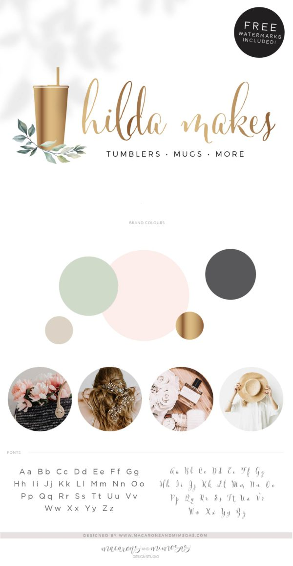 Floral Tumbler Logo, Travel Cup Mug Logo Design for Etsy Shop Branding, Premade Custom Tumbler Crafting, Traveling Handmade Logo