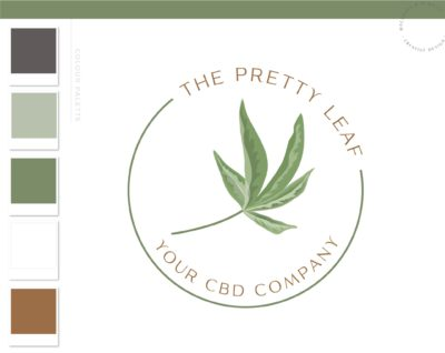 Cannabis Logo, Marijuana Logo, Health Weed Logo, CBD Oil Logo Design, THC Logo Branding for Smoke Shop, Organic Nature Leaf Logo Watermark