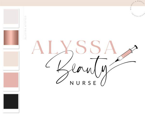 Beauty Nurse Logo, Plastic Surgery Logo Design, Cosmetic Laser Esthetics Procedures Branding Kit, Skincare Fillers Botox clinic Salon Logo