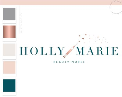 Botox Fillers Logo, Plastic Surgery Needle Syringe Logo Design, Cosmetic Esthetics Branding Kit, Skincare Beauty Nurse clinic Salon Logo