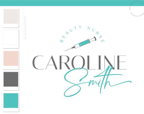 Botox Fillers Logo, Beauty Nurse Logo, Plastic Surgery Needle Syringe Logo, Cosmetic Esthetics Branding Kit, Skincare clinic Salon Logo