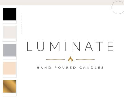 Candle Logo Design, Decor Wick Candle Boutique Logo Branding Package, Hand Poured Luxe Wax Brand Design, Healing Spiritual Flame logo