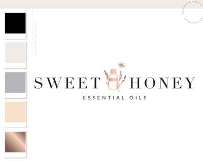 Essential Oil Logo, Premade Logo Design, Fragrance Oil with Bee Logo, Health Logo, EO doTerra Distributor Logo, Candle Floral Lavender Logo