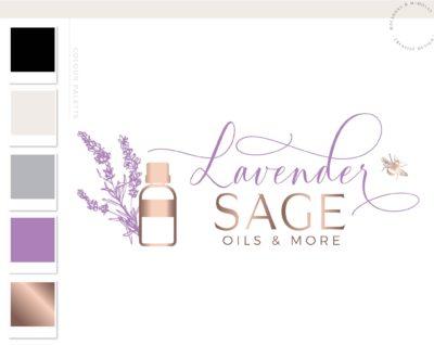 Lavender Essential Oil Logo, Fragrance Oil with Bee Logo, Health Logo, EO doTerra Distributor Logo, Candle Floral Logo, Premade Logo Design