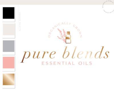Pretty Essential Oil Logo, Fragrance Oil with Bee Logo, Health Logo, EO doTerra Distributor Logo, Candle Floral Logo, Premade Logo Design