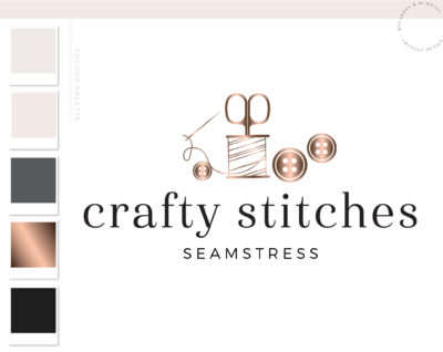 Premade Crafting Logo, Sewing Seamstress Logo Design, Handmade logo Design for Etsy, Circuit Logo, Button Needle & Thread Branding Package