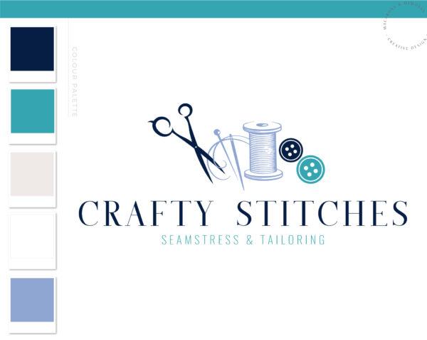 Thread Logo Design, Premade Sewing Craft Logo, Handmade Logo Design for Etsy, Circuit Logo Branding, Quilt Business Logo Branding Package