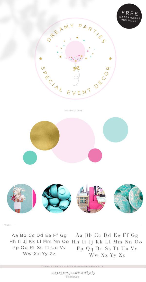 Party Planner Balloon Logo, Party Decoration Logo, Event Planner Logo, Wedding Planner Logo Gold Glitter Star Feminine, Premade Branding Kit