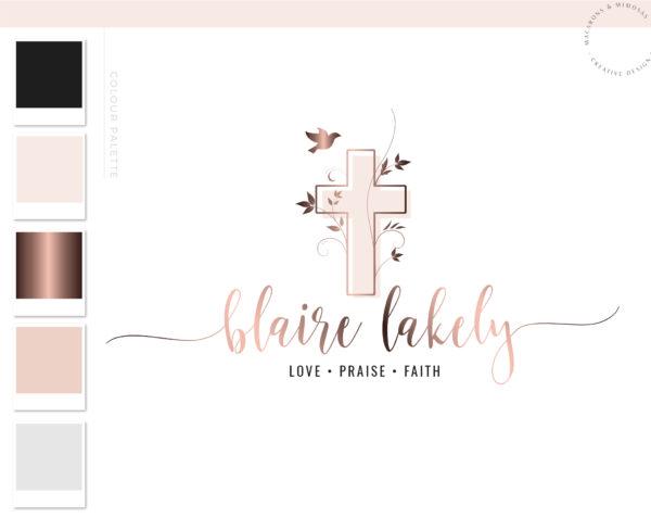 Cross Logo Design, Bible Study Blogger Cross Vine Branding & Logo Watermark, Feminine Pray Faith Worship Jesus Logo, Dove Logo for Church