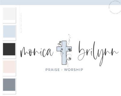 Religious Logo Design, Cross Logo with Bible Floral Vine Branding & Logo Watermark, Feminine Faith Worship Jesus Logo, Dove Logo for Church