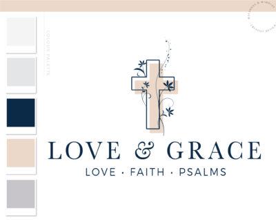 Religious Logo Design, Feminine Cross Logo with Bible Floral Vine Branding & Logo Watermark, Faith Worship Jesus Logo, Dove Logo for Church