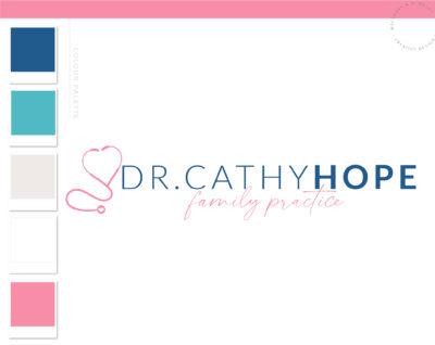 Stethoscope Heart Logo Design, Nurse Practitioner Logo, Plastic Surgery Branding Kit, Heath Doctor Logo, Skincare Clinical Health logo