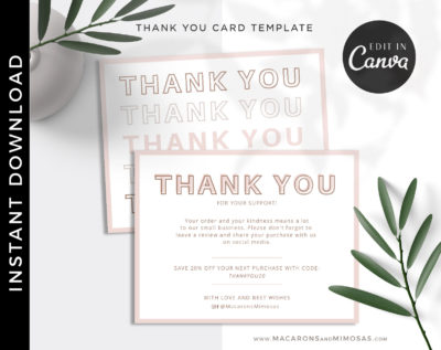Thank You cards, reseller Editable Thank You insert for Online shops, Canva Thank You card Template, Small Business Thank You Package Insert