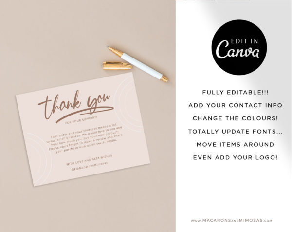 Reseller Thank You cards, Editable Thank You insert for Online shops, Canva Thank You card Template, Small Business Thank You Package Insert