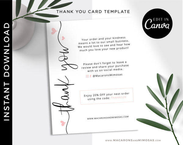Business Thank You Insert card Template, Editable Modern Insert Card for Packaging, Heart Discount Thank You For Your Order just Add LOGO