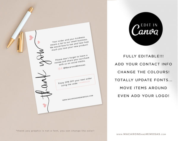 Business Thank You Insert card Template, Editable Modern Insert Card for Packaging, Heart Zazzle Discount Thank You For Your Order just Add LOGO